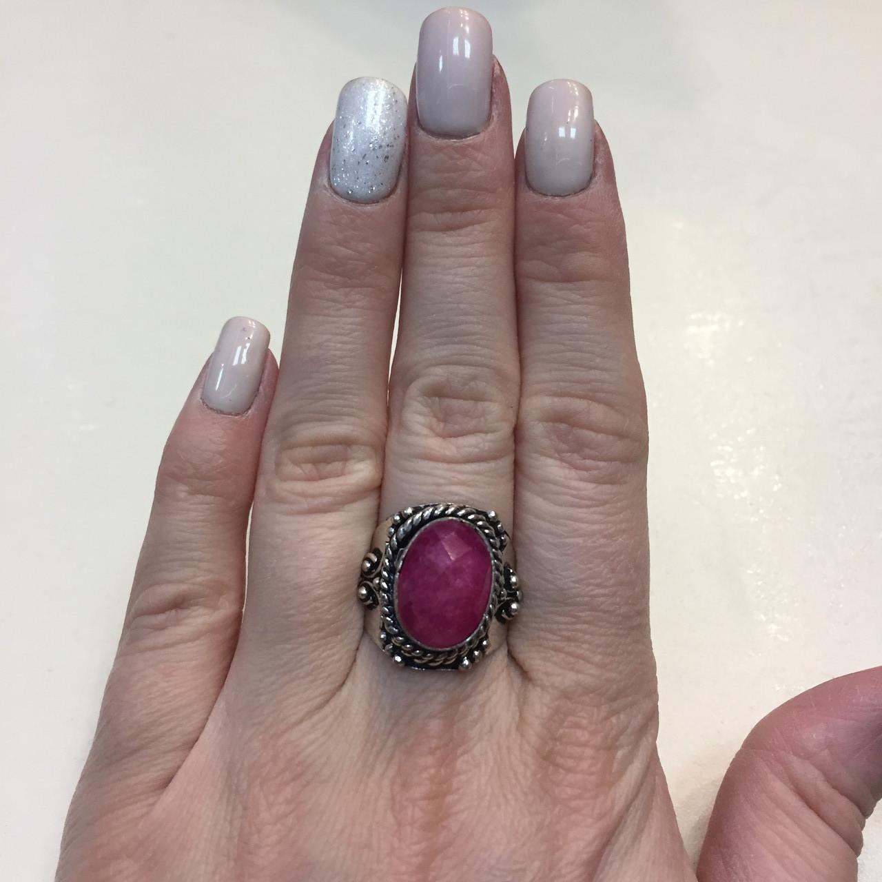 Кольцо рубин в серебре 16,5-17 размер Индия! Кольцо с рубином.