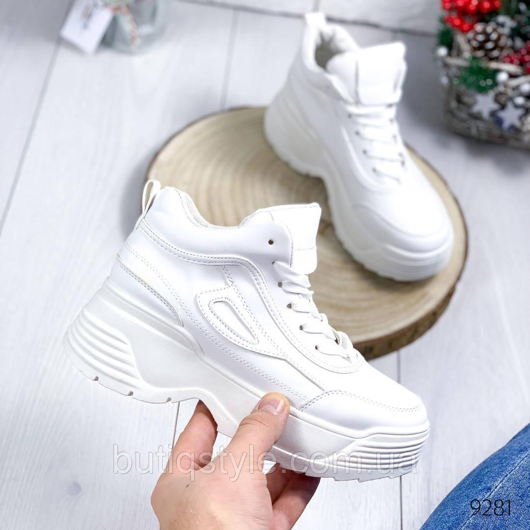 Женские белые кроссовки эко-кожа на широкой платформе