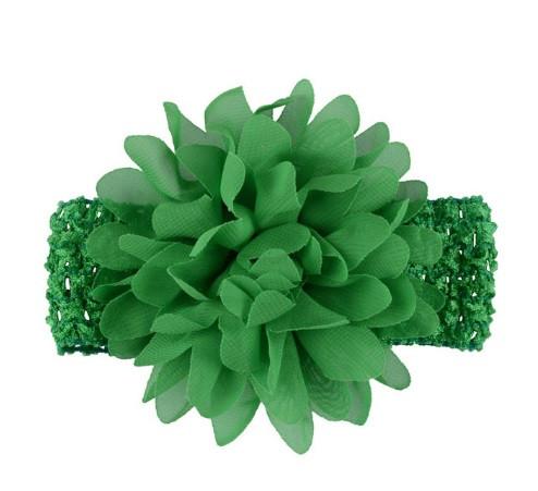 Детская зеленая повязка на голову - окружность головы приблизительно 26-50см, диаметр цветка 10см