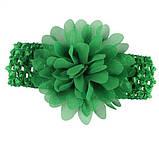 Детская зеленая повязка на голову - окружность головы приблизительно 26-50см, диаметр цветка 10см, фото 2