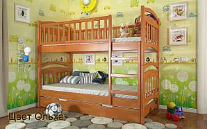 Двухъярусная Деревянная кровать Смайл Сосна 80х190 см. Arbor Drev