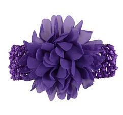 Детская фиолетовая повязка на голову - окружность головы приблизительно 26-50см, диаметр цветка 10см