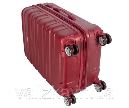 Чемодан из ударопрочного полипропилена пластиковый большого размера на 4-х колесах Airtex 628 красного цвета., фото 2