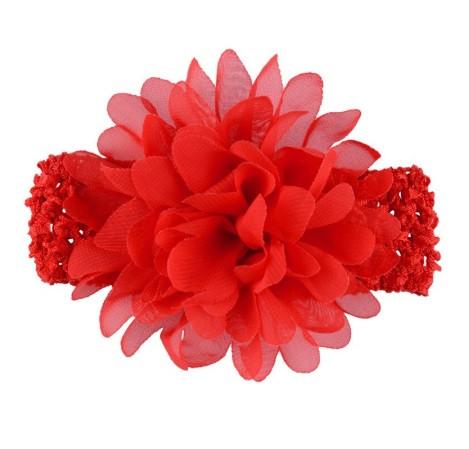 Детская красная повязка на голову - окружность головы приблизительно 26-50см, диаметр цветка 10см