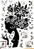 Наклейка виниловая Девушка с цветами 3D декор