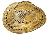 Шляпа ковбоя с полями блестки (желтая) 170216-327