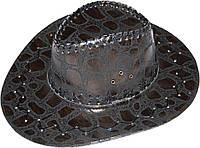 Шляпа ковбойская Змеиная кожа (темно-коричневая) 170216-341