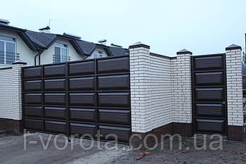 Уличные ворота с калиткой (дизайн филенчатые ворота, шоколадка)