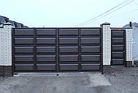 Ворота распашные ш4500, в2500 и калитка ш1000, в2500  (дизайн филенчатые ворота, шоколадка), фото 2
