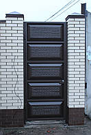Ворота распашные ш4500, в2500 и калитка ш1000, в2500  (дизайн филенчатые ворота, шоколадка), фото 3