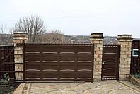 Автоматические консольные ворота ш4000, в2000 и калитка ш1000, в2000 (дизайн шоколадка, филенка линза), фото 2