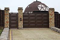 Автоматические консольные ворота ш4000, в2000 и калитка ш1000, в2000 (дизайн шоколадка, филенка линза), фото 3