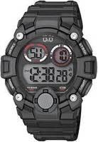 Q&Q M162J черные с красными вставками мужские спортивные часы