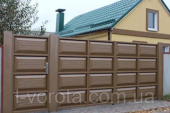 Ворота распашные с калиткой  (дизайн филенка, шоколадка)