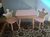 """Стол в детскую комнату (2 стула). Натуральное дерево. """"Принцесса/Принц"""""""