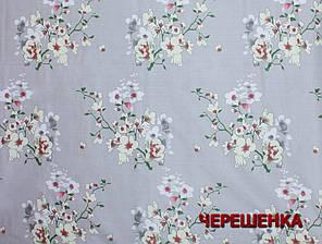 """Ткань для постельного белья Бязь """"Gold"""" Lux GL656 (50м) серая с цветами, фото 2"""