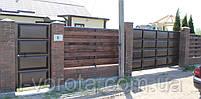 Ворота консольные 4000×2000 и калитка 1000×2000 (дизайн шоколадка, филенчатые ), фото 3