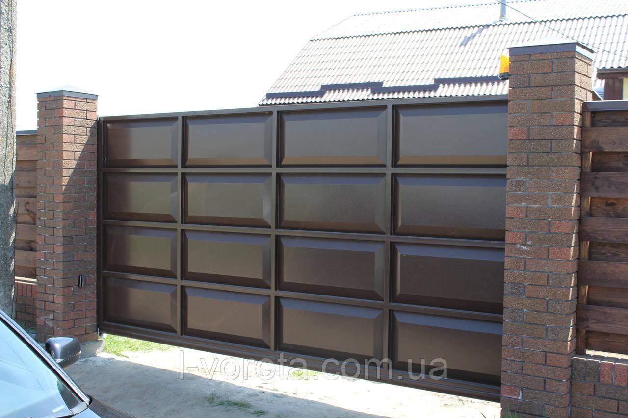 Ворота консольные 4000×2000 и калитка 1000×2000 (дизайн шоколадка, филенчатые )