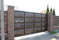 Ворота консольные 4000×2000 и калитка 1000×2000 (дизайн шоколадка, филенчатые ), фото 2
