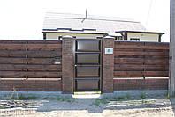 Ворота консольные 4000×2000 и калитка 1000×2000 (дизайн шоколадка, филенчатые ), фото 4