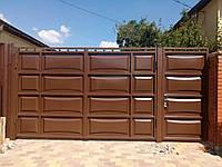 Автоматические распашные ворота ш3000, в2000 и калитка ш1000, в2000 (дизайн филенка, шоколадка)