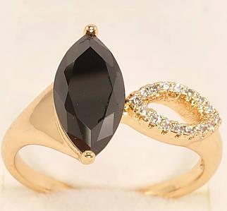 Кольцо ХР Позолота 18K Заостренный циркониевый овал и черный кристалл огранки Маркиз 16р
