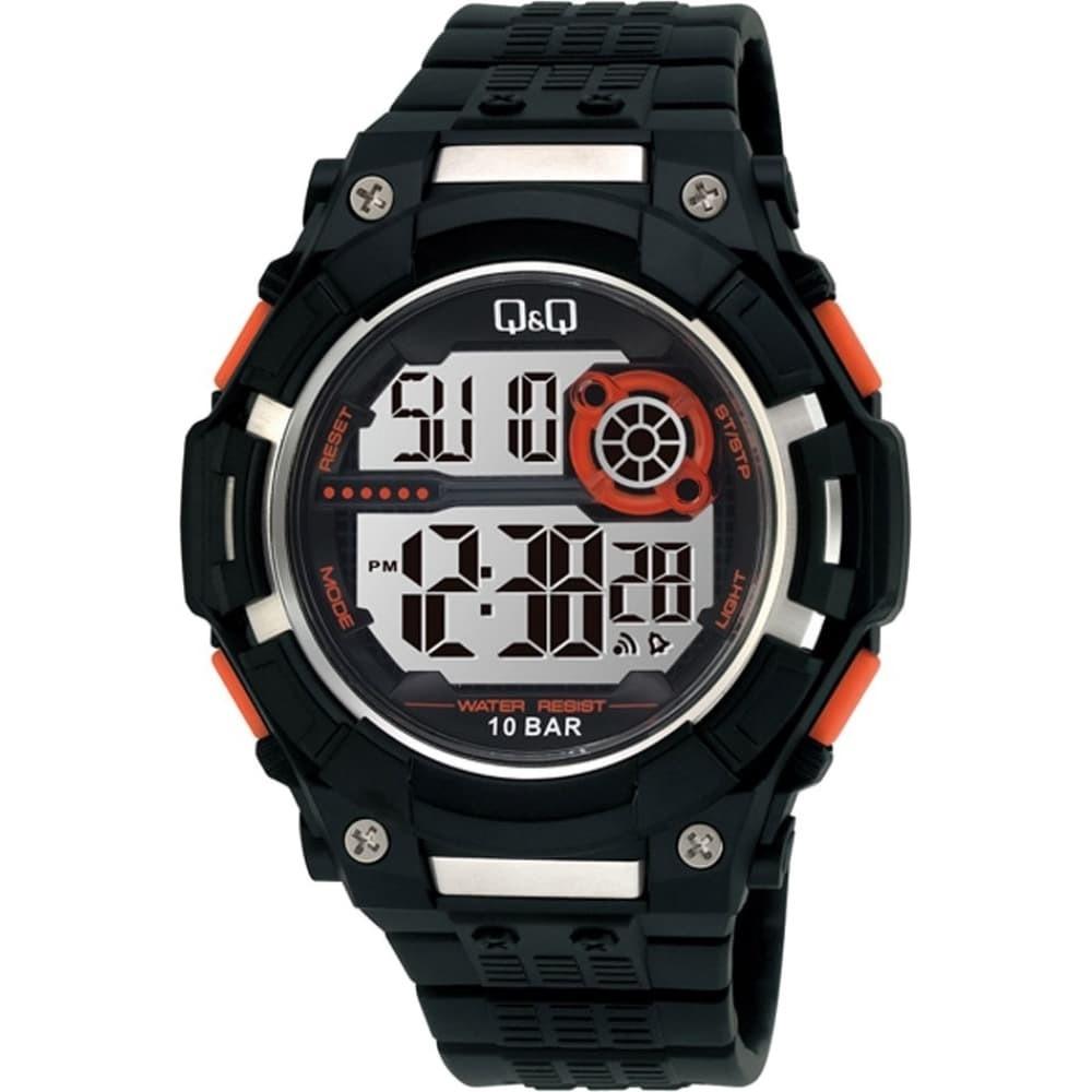 Q&Q M125J черные с оранжевыми вставками мужские спортивные часы