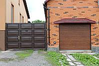 Распашные ворота с врезной калиткой (дизайн филенка, шоколадка), фото 2