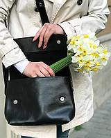 Кожаная сумка кросс-боди «Cross Black» женская черная (25x19 см) с косметичкой ручной работы от pan Krepko