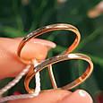 Минималистичное золотое кольцо - Кольцо 2 полоски из красного золота в стиле минимализм, фото 6