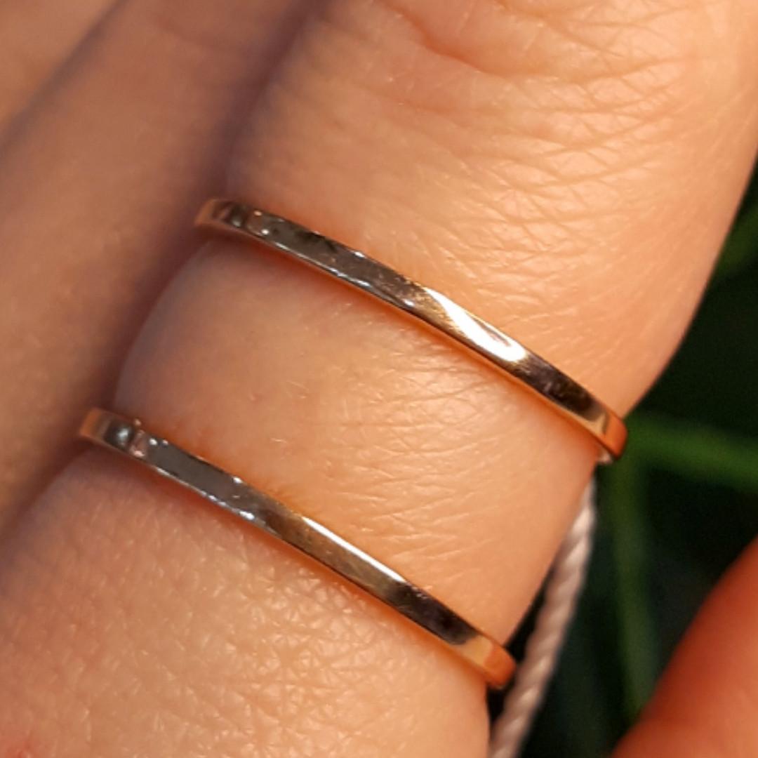 Минималистичное золотое кольцо - Кольцо 2 полоски из красного золота в стиле минимализм