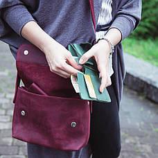 Шкіряна сумка крос-боді «Cross Marsala» жіноча бордова (25x19 см) з косметичкою ручної роботи, фото 3