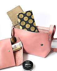 Шкіряна сумка крос-боді Cross жіноча рожева, фото 3