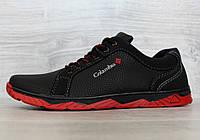 Кроссовки мужские черные на красной подошве демисезонные (КЛС-27чр)