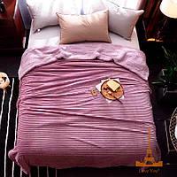 Плед велюровый меховой полоска, размер 2,0*2,2 м Розовый