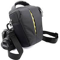 Сумка для фотоаппарата универсальная противоударная черная с жёлтым ( код: IBF035BY )