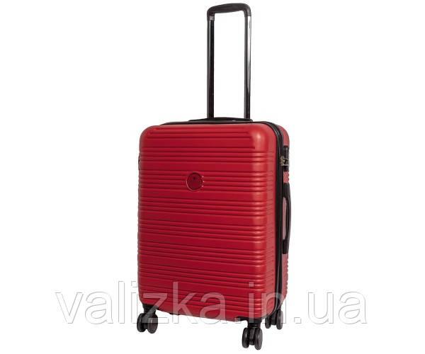 Чемодан из ударопрочнго полипропилена пластиковый большого размера на 4-х колесах Airtex 805 красного цвета.