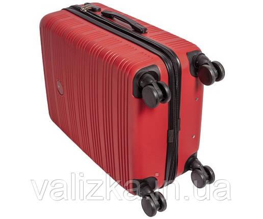 Чемодан из ударопрочнго полипропилена пластиковый большого размера на 4-х колесах Airtex 805 красного цвета., фото 2