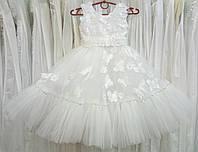 5.120 Нежное белое нарядное детское платье-маечка с бабочками на 4-5 лет
