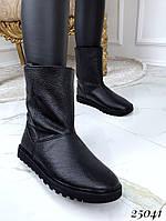 Угги женские черные высокие натуральная кожа на цигейке, фото 1
