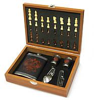 Мужской подарочный набор с флягой и шахматами №QZ8