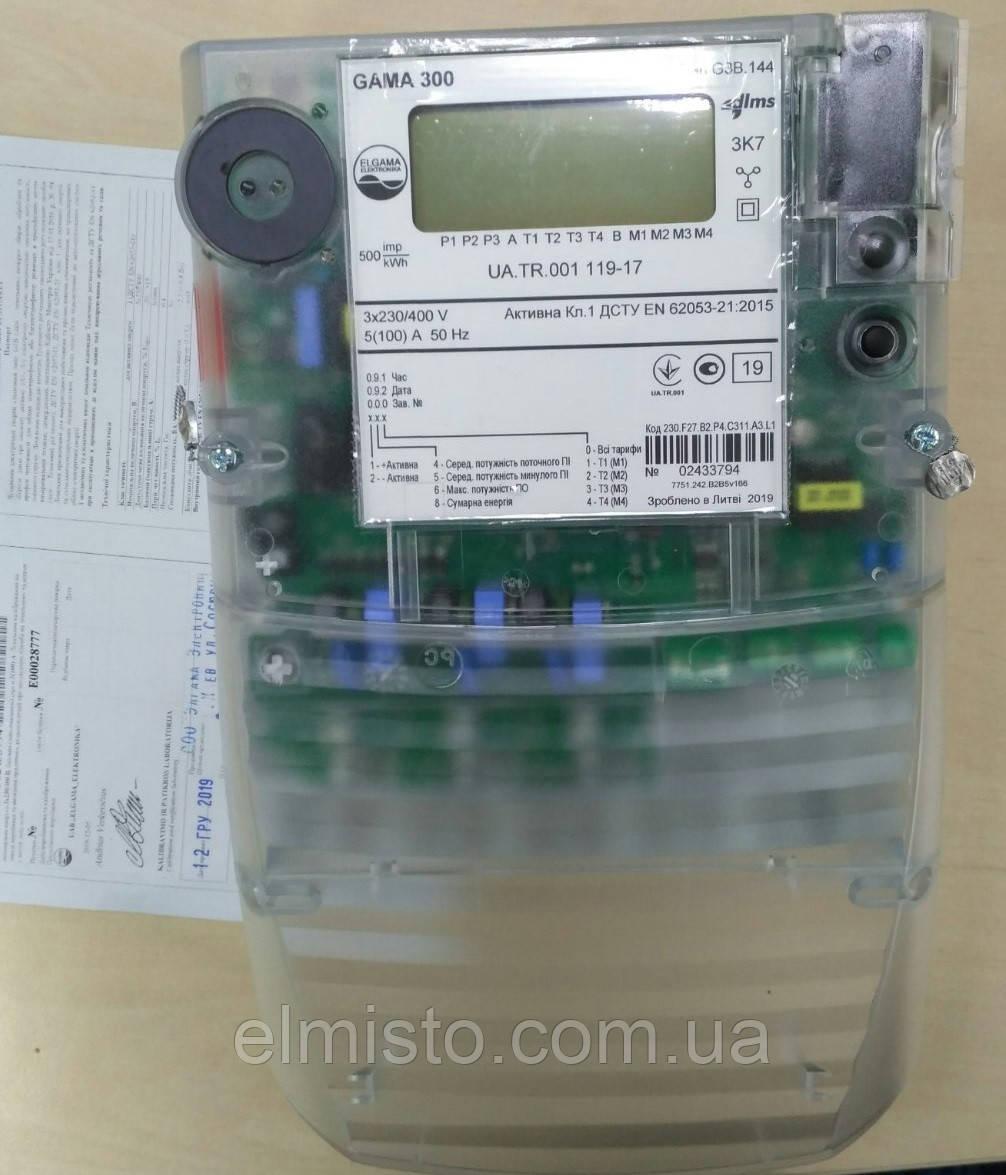 """Электросчетчик GAMA 300 G3B 144.230.F27.B2.P4.C311.A3.L1 3x220/380В 5(100)А, А± """"зеленый тариф"""""""
