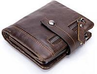 Кожаное мужское портмоне CasOne, мужской кошелек из натуральной кожи. Отличный подарок мужчине