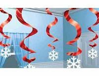 Спирали красные со снежинками 5 1501-0748