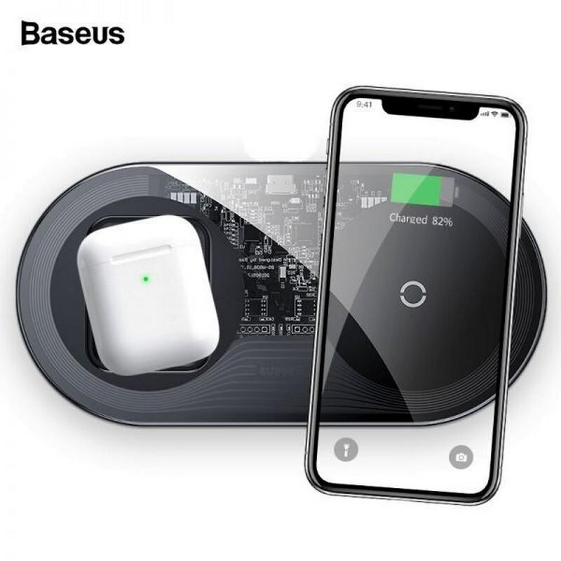 Беспроводная зарядка Baseus Simple 2в1 18W Quick Charge 3.0 Type-C для телефона и airpods (WXJK-01)