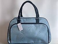 Женская дорожная текстильная сумка-саквояж для поездок голубая