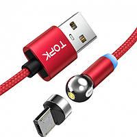 Магнитный кабель для зарядки TOPK AM28 LED 1m 2.4A вращающийся на 360° MicroUsb . Красный