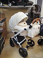 Детская коляска 2-в-1 Lumi (Люми эко-кожа) на пластиковой корзине d00 - .белая