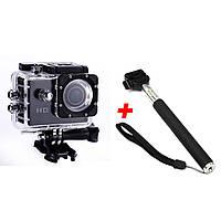 Экшн-камера 2Life B5R с пультом + Монопод Black (n-5)