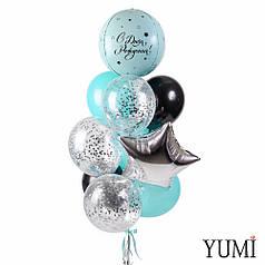 """Связка с мятной сферой """"С Днём Рождения, мятными и черными шарами, шариками с конфетти и звездой"""